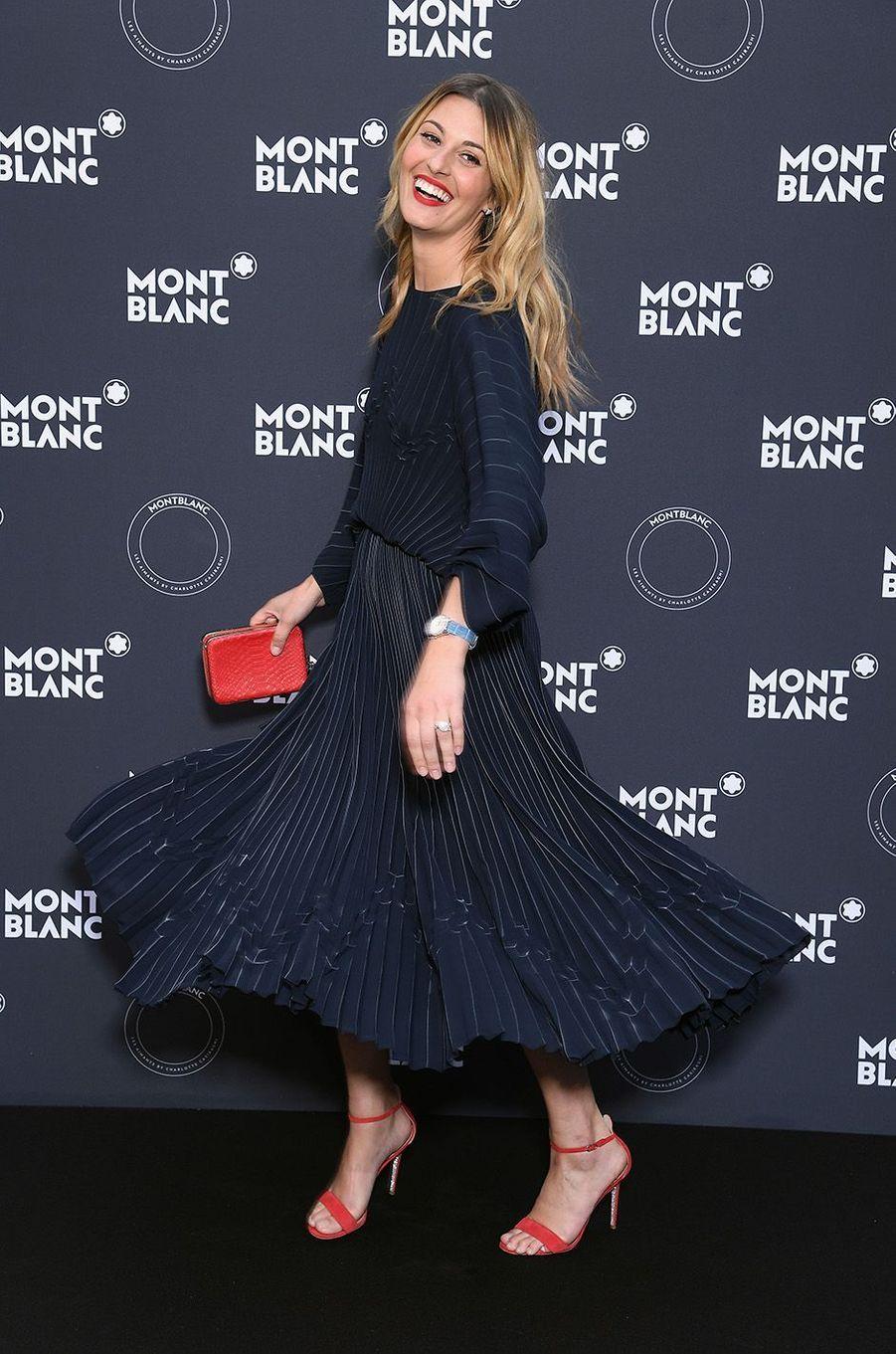 Sveva Alviti à la soirée Montblanc à Cannes, le 16 mai 2018.