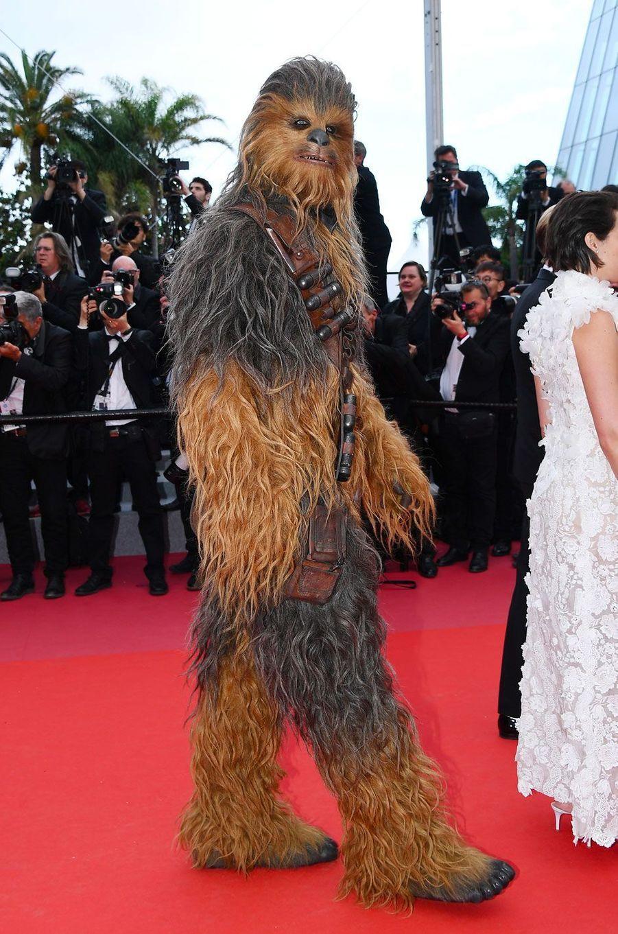 Chewbacca monte les marches à Cannes le 15 mai 2018