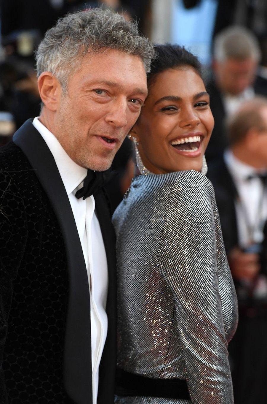 Vincent Cassel et Tina Kunakey, de l'amour sur la Croisette, le 12 mai 2018.