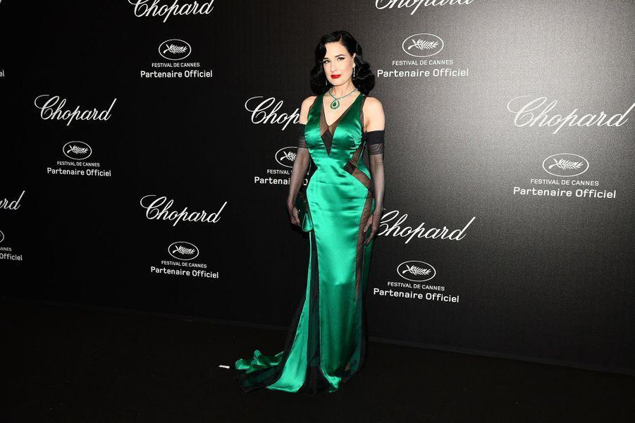 Dita Von Teeseà la soirée Chopard organisée en marge du 72e Festival de Cannes le 17 mai 2019