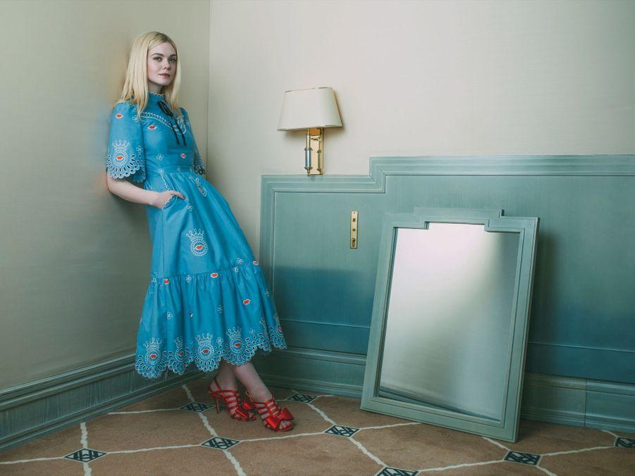 Elle Fanning, égérie L'Oréal, dans une chambre du Martinez, pour les films « Les proies », de Sofia Coppola et « How to Talk to Girls at Parties », de John Cameron Mitchell.