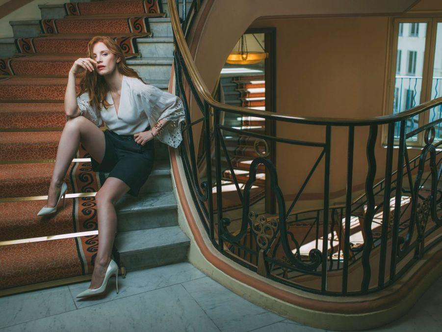 Jessica Chastain, membre du jury. Elle interprétera Ingrid Bergman dans un prochain biopic. Bijoux Piaget Possession.