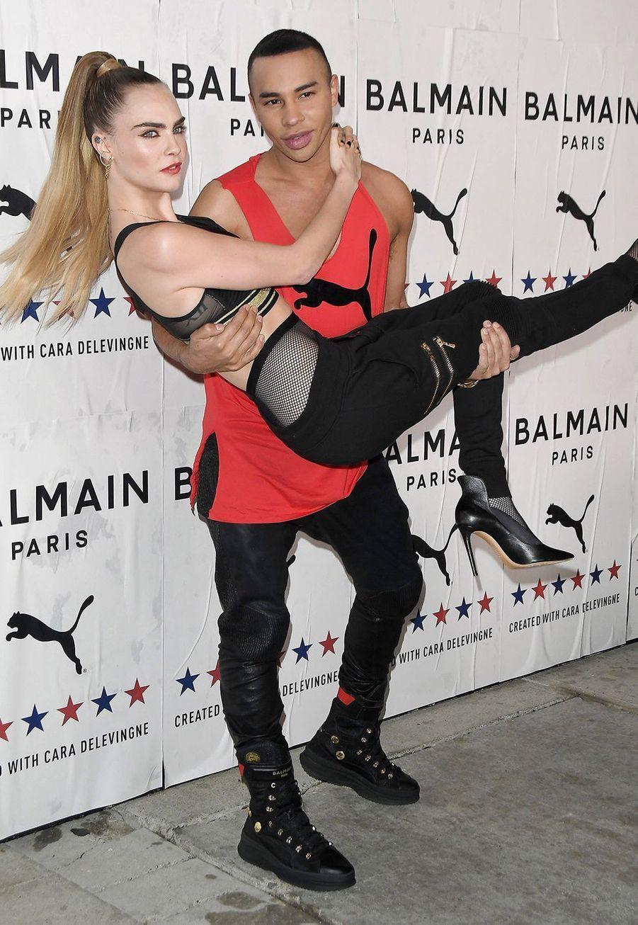Cara Delevingne et Olivier Rousteinglors de la soiréePUMA x Balmain à Los Angeles le jeudi 21 novembre 2019.