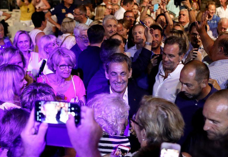 Nicolas Sarkozy au concert de Carla Bruni au Lavandou le 23 juillet 2019