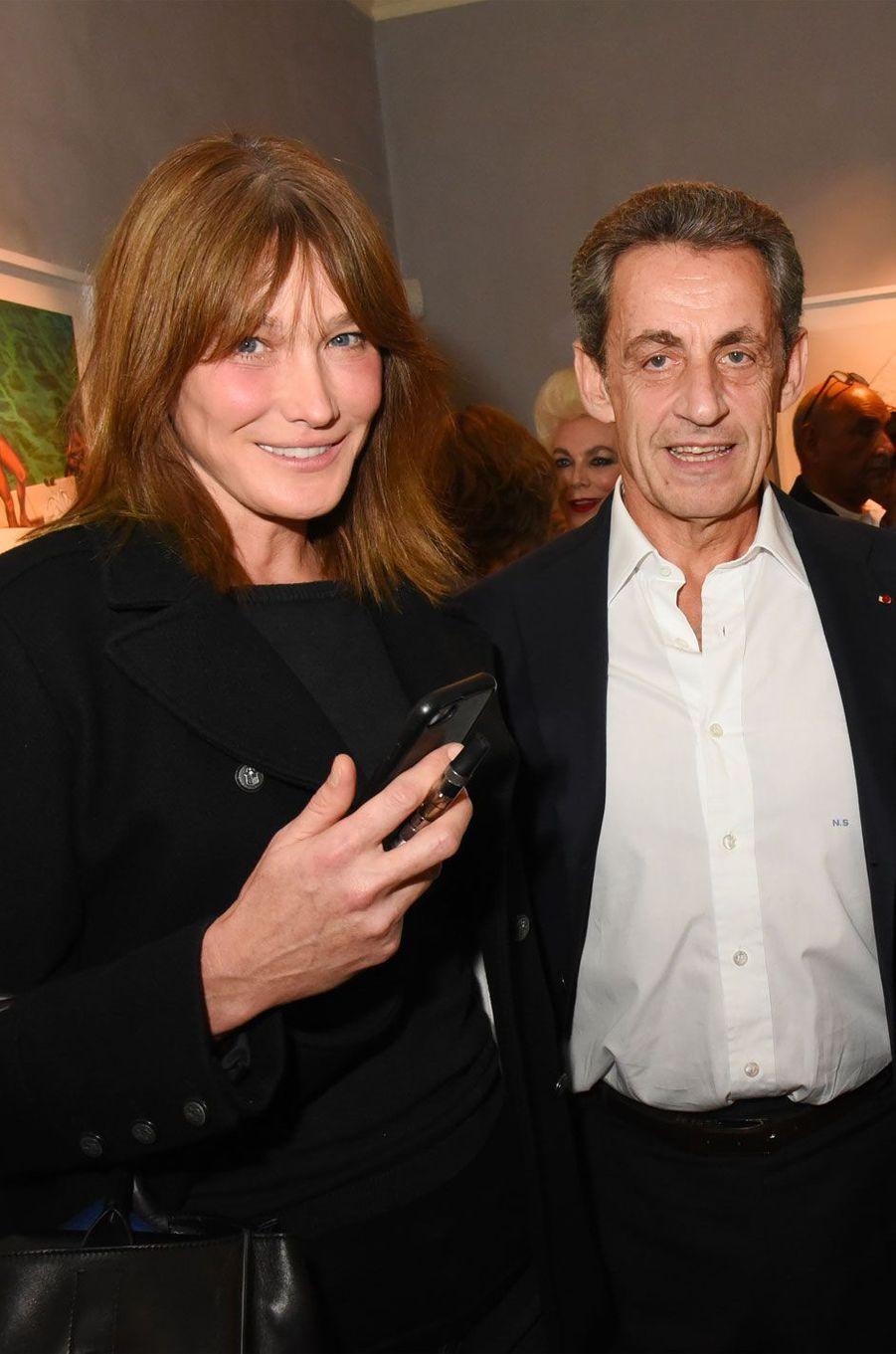 Nicolas Sarkozy et Carla Bruni à l'exposition Simon Bocanegra et Philippe Morillon le 18 octobre 2017