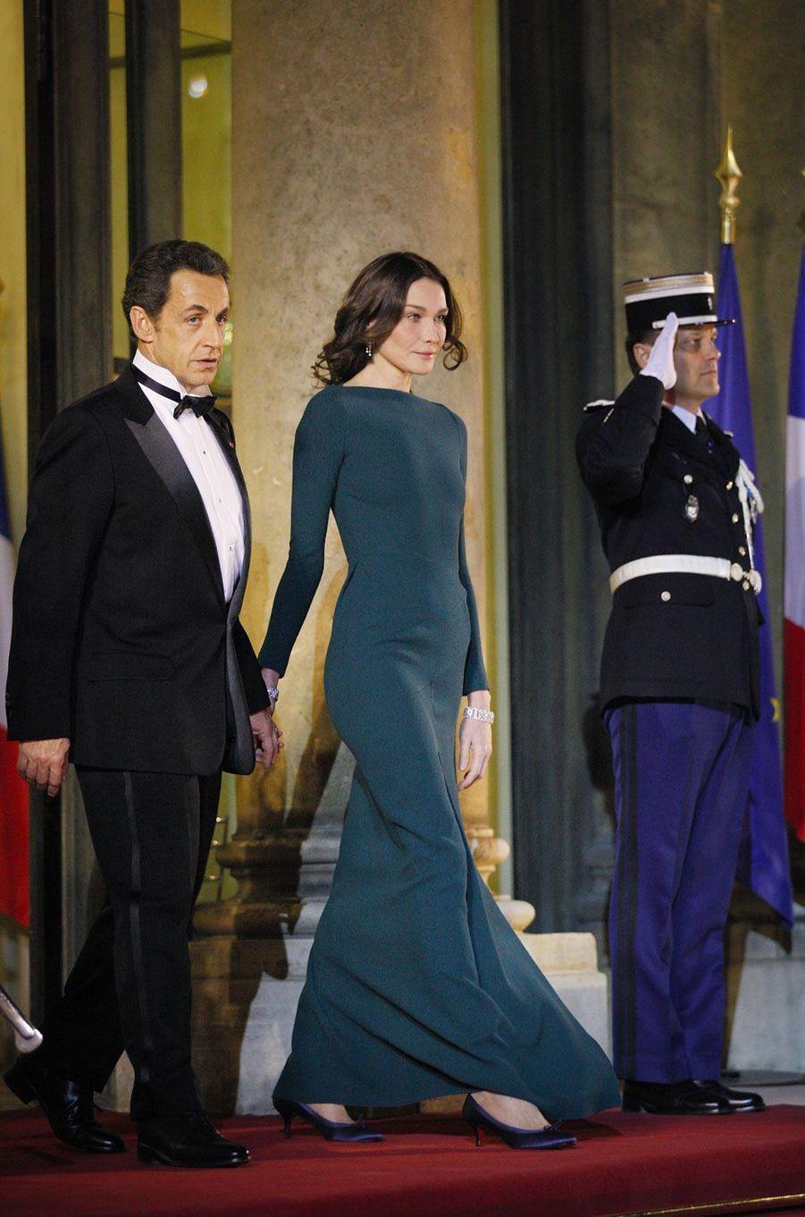 Nicolas Sarkozy et Carla Bruni à l'Élysée le 2 mars 2010