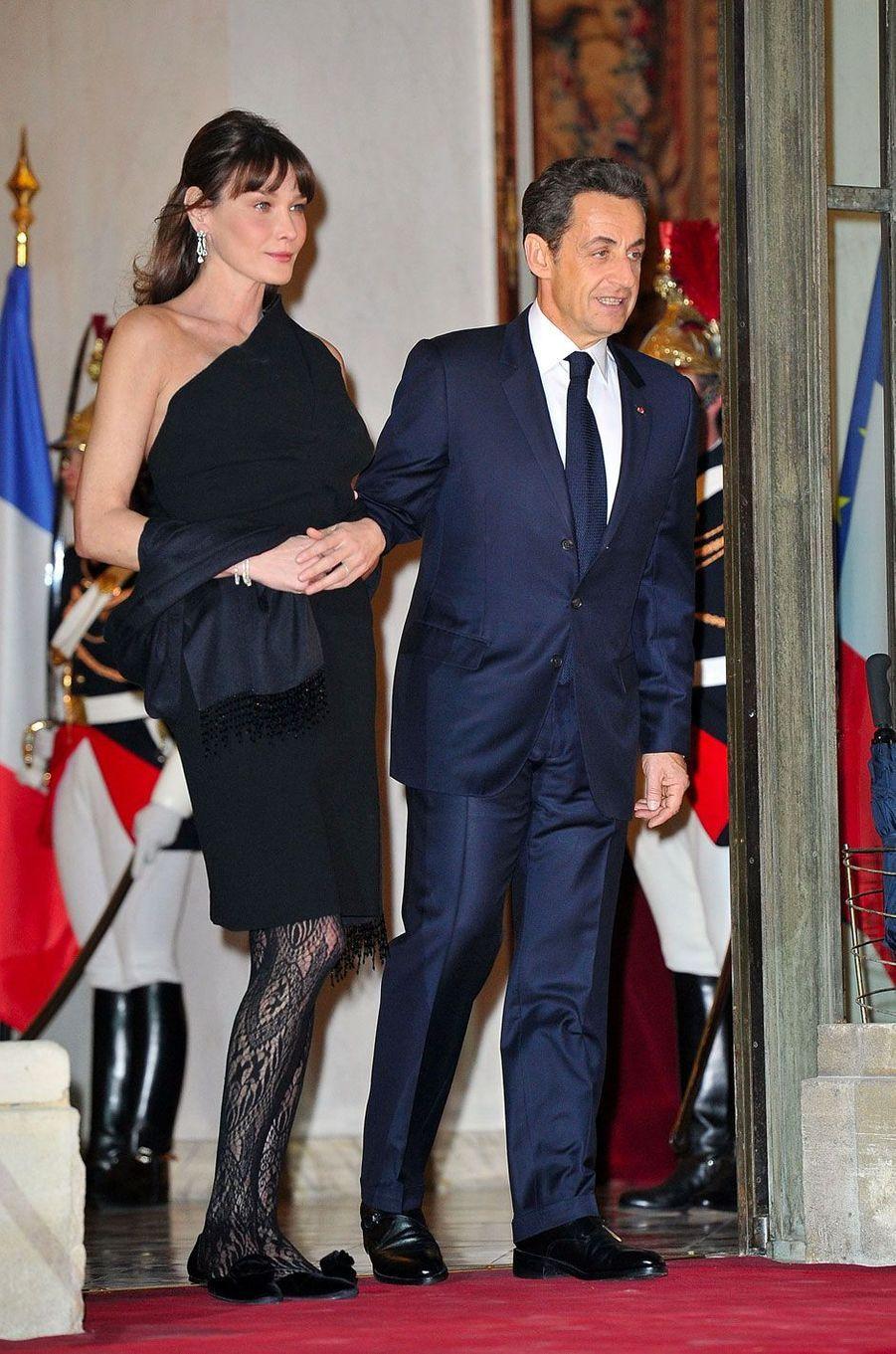 Nicolas Sarkozy et Carla Bruni à l'Élysée le 2 mars 2011