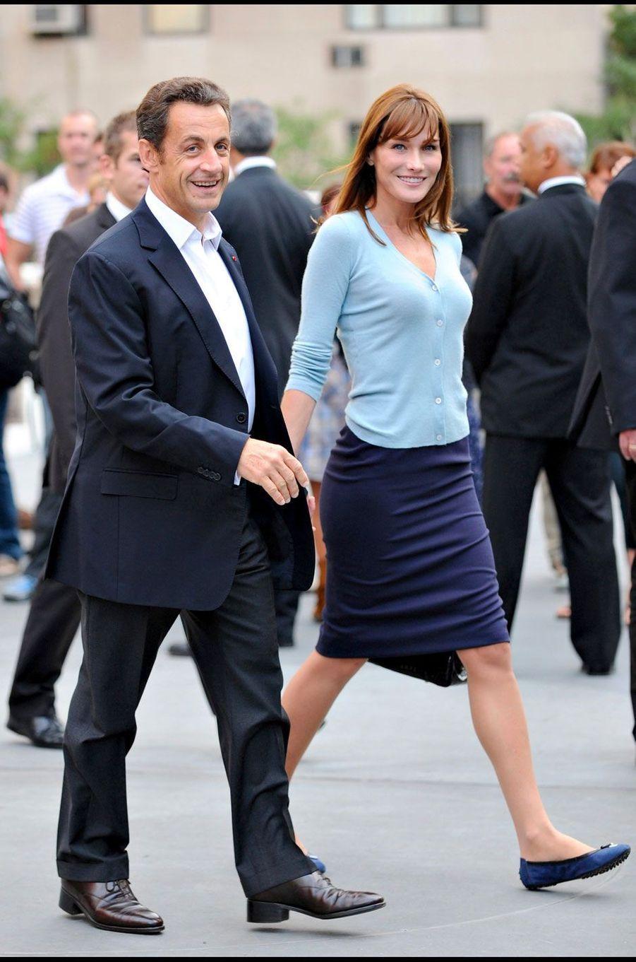 Nicolas Sarkozy et Carla Bruni à New York le 22 septembre 2008