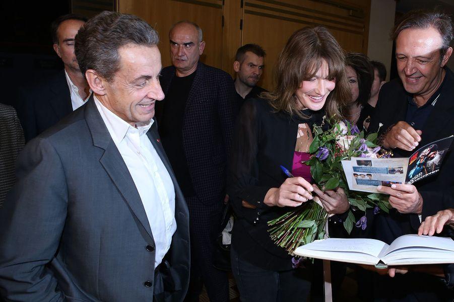 Carla Bruni et Nicolas Sarkozy au Pallas, à Athènes, le 24 octobre 2017.