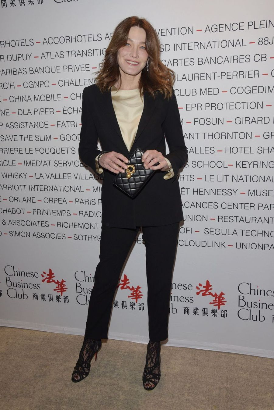 Carla Bruni lors du déjeuner du Chinese Business Club à Paris, le 8 mars 2019