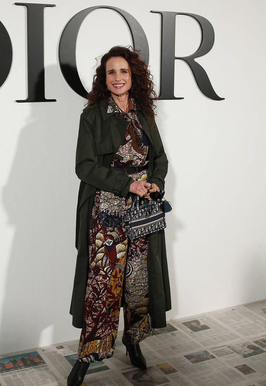 Andie MacDowellau défilé Dior à Paris le 25 février 2020
