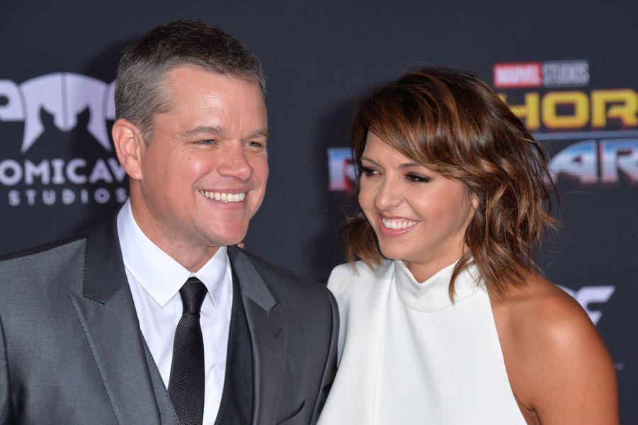 """Matt Damon et Luciana Barroso à l'avant-première de """"Thor : Ragnarok"""", le 10 octobre à Los Angeles."""