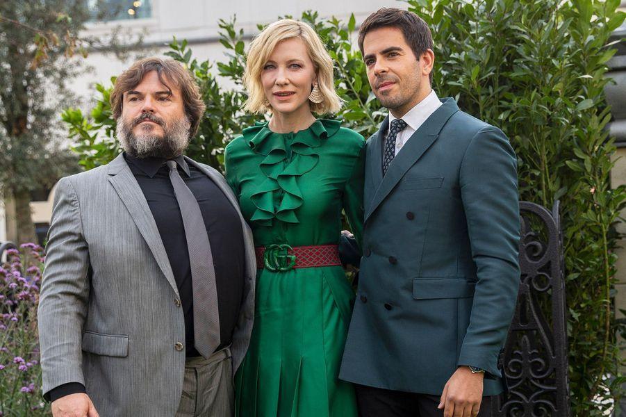 """Jack Black, Cate Blanchett et Eli Roth à l'avant-première de """"La Prophétie de l'horloge"""" à Londres, mercredi 5 septembre"""