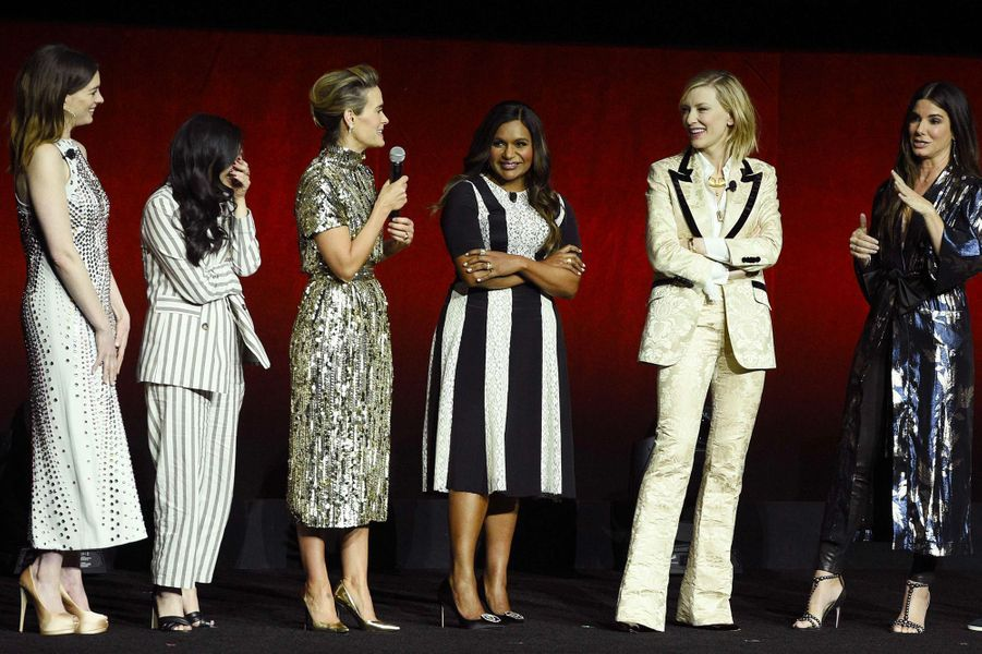Anne Hathaway, Awkwafina,Sarah Paulson, Mindy Kaling, Cate Blanchett etSandra Bullockau CinemaCon de Las Vegas