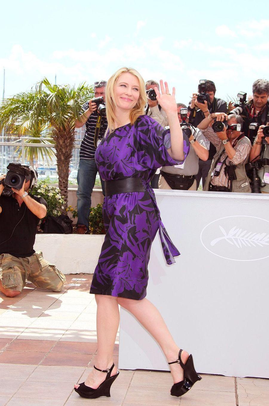 """Cate Blanchett au 61e Festival de Cannes (2008) pour présenter le film """"Indiana Jones et le royaume du crâne de cristal"""""""