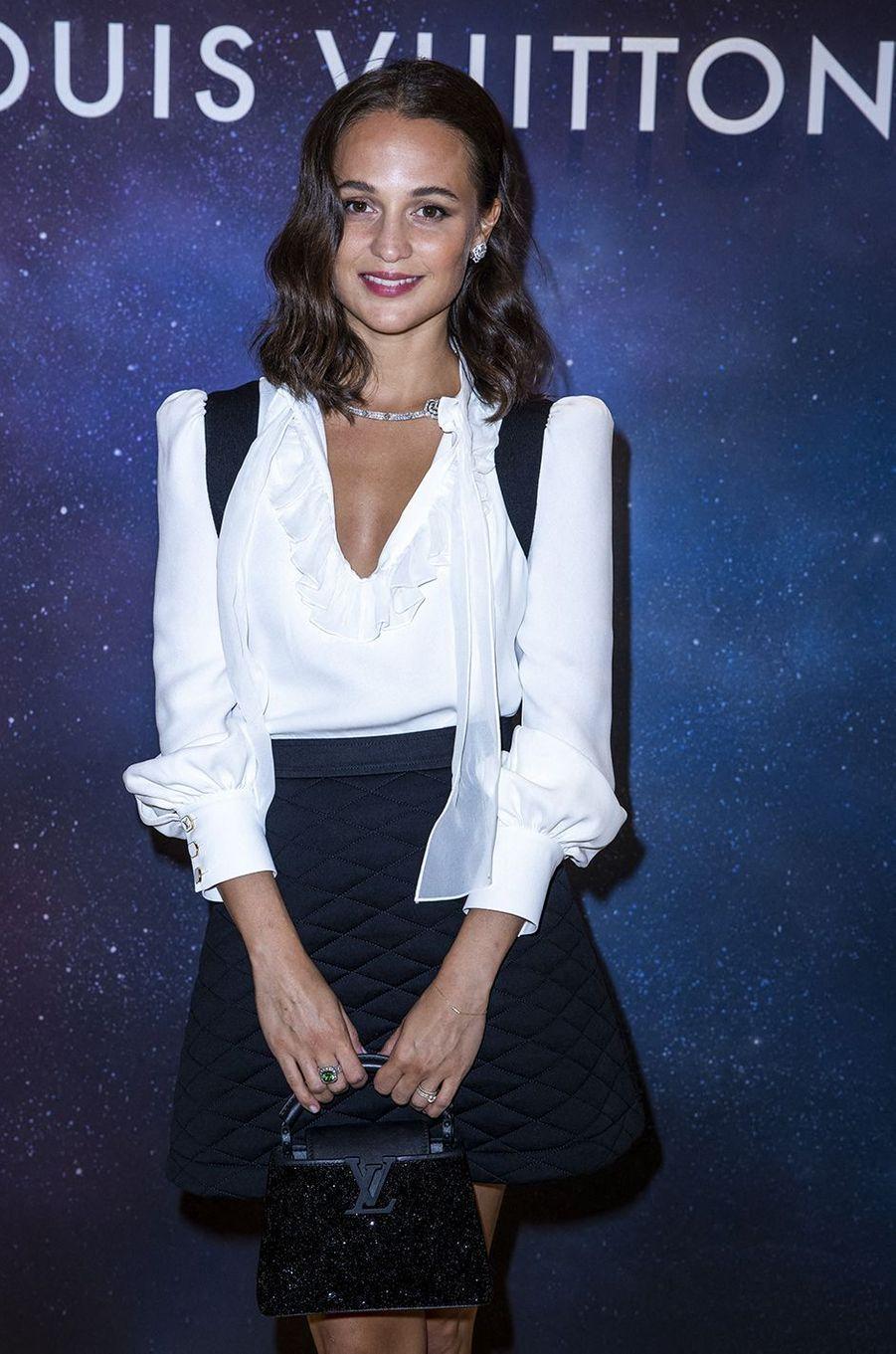 Alicia Vikanderàla soirée Louis Vuitton pour la présentation de la collection de haute joaillerie«Stellar Times»à Paris le 28 septembre 2020