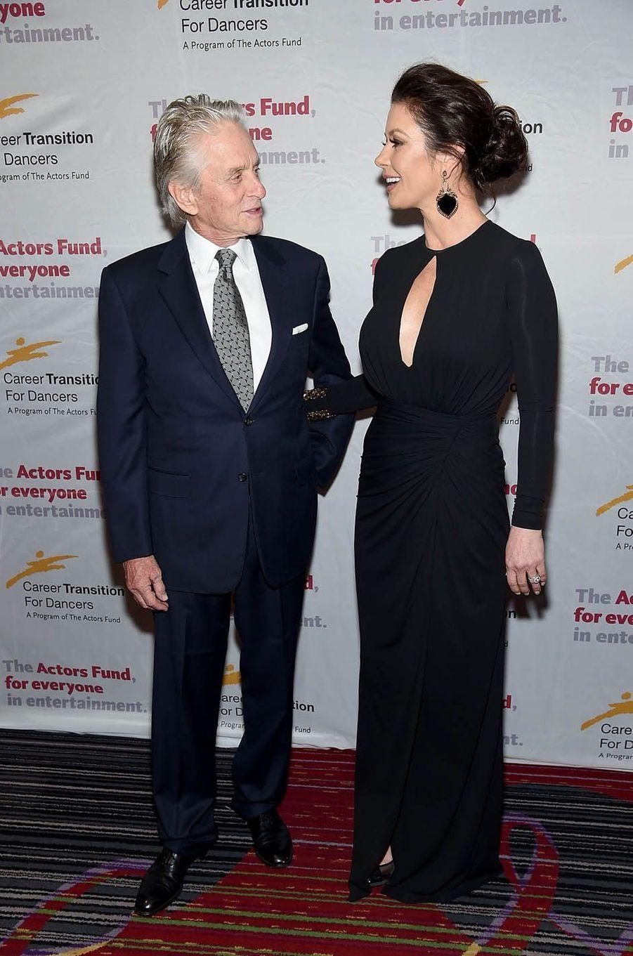 Michael Douglas et Catherine Zeta-Jones lors d'un gala à New York, le 1er novembre 2017.