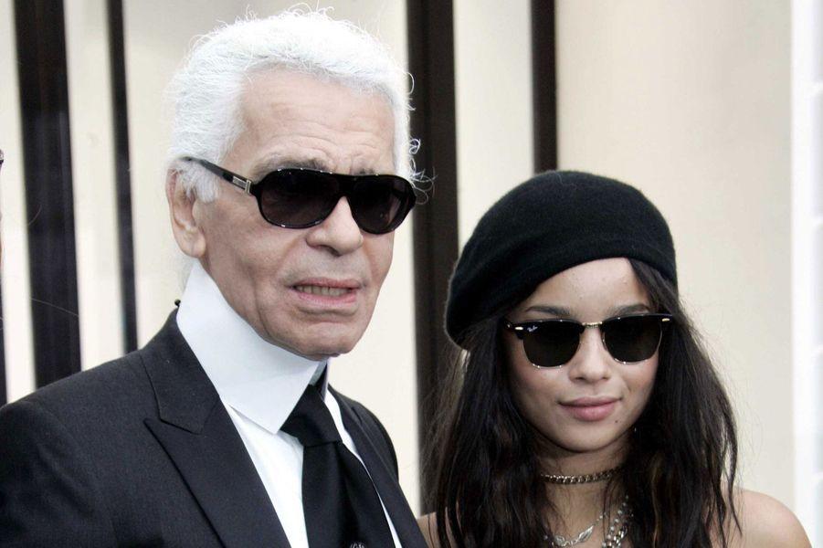 Karl Lagerfeld et Zoë Kravitz en 2009.