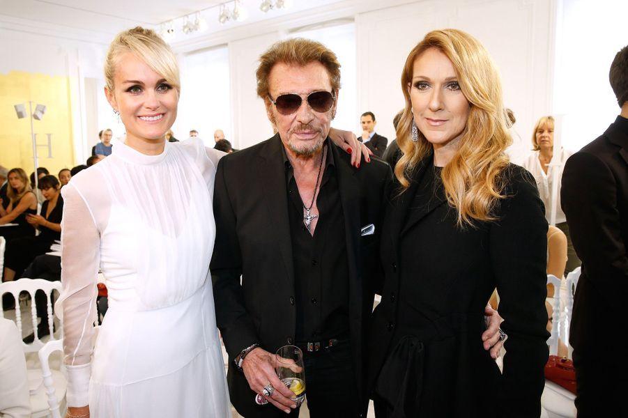 Céline Dion avec Johnny et Laeticia Hallyday à Paris, juillet 2016.