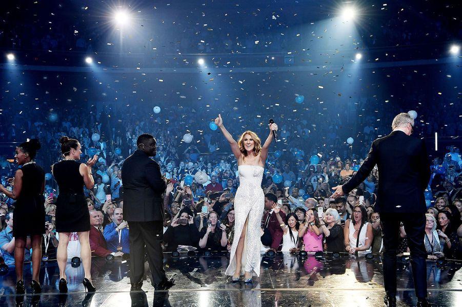 Céline Dion célèbre son 1000e show à Vegas, octobre 2016.