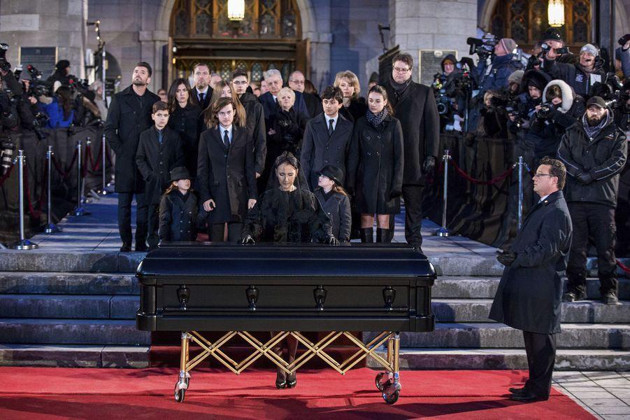 Les funérailles de René Angélil en la basilique Notre-Dame de Montréal, le 22 janvier 2016.