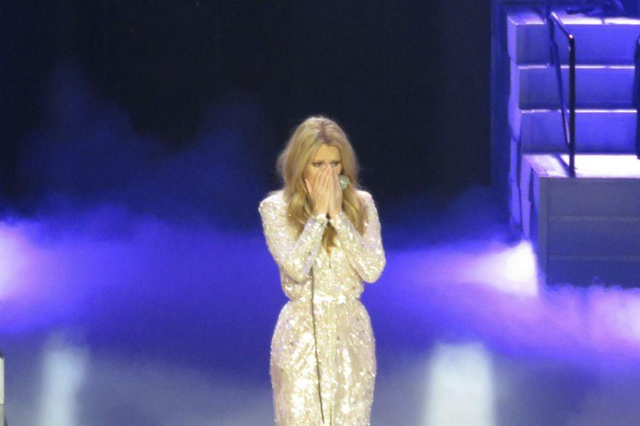 Céline Dion fait son retour sur la scène de Las Vegas, le 23 février 2016.