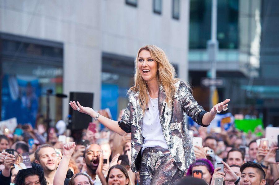 Céline Dion en concert à New York, le 22 juillet 2016.