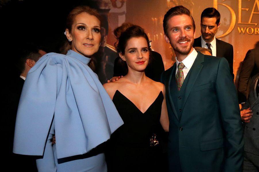 """Céline Dion avec Emma Watson et Dan Stevens à l'avant-première de """"La Belle et la Bête"""" à Los Angeles, le 3 mars 2017."""