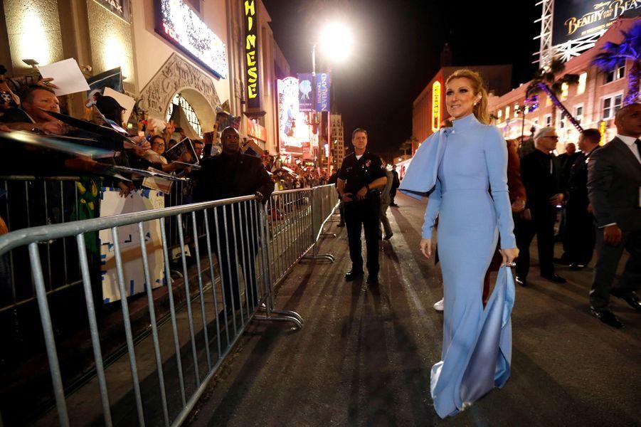 """Céline Dion superstar à l'avant-première de """"La Belle et la Bête"""" à Los Angeles, le 3 mars 2017."""