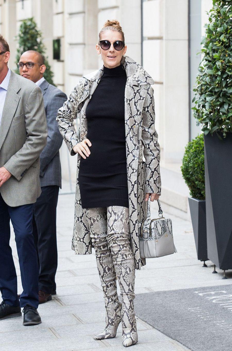 Céline Dion tout en python à la sortie du Royal Monceau, le 27 juillet 2017.