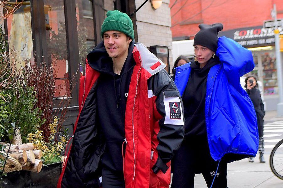 Justin Bieber et sa femme, Hailey Bieber, en balade à New-York le 28 janvier 2019