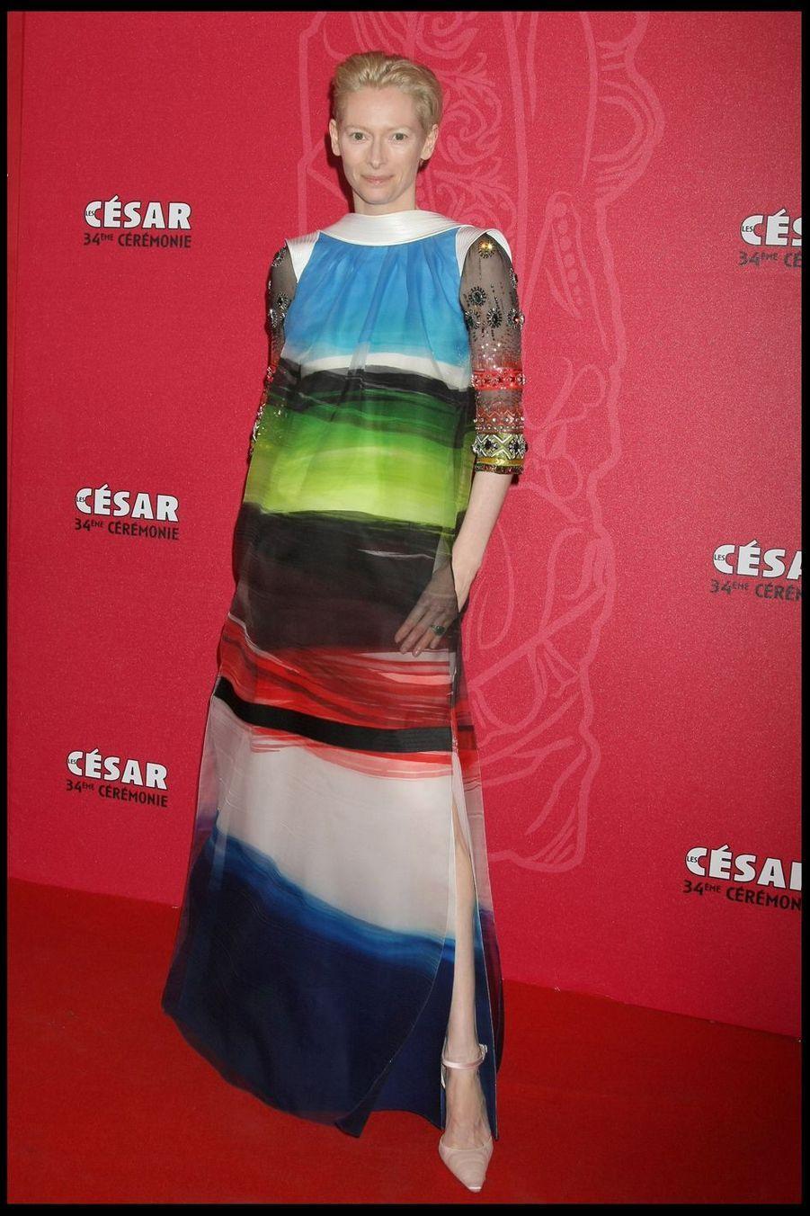 Tilda Swintonlors de la 34e cérémonie des César à Paris, le 27 février 2009