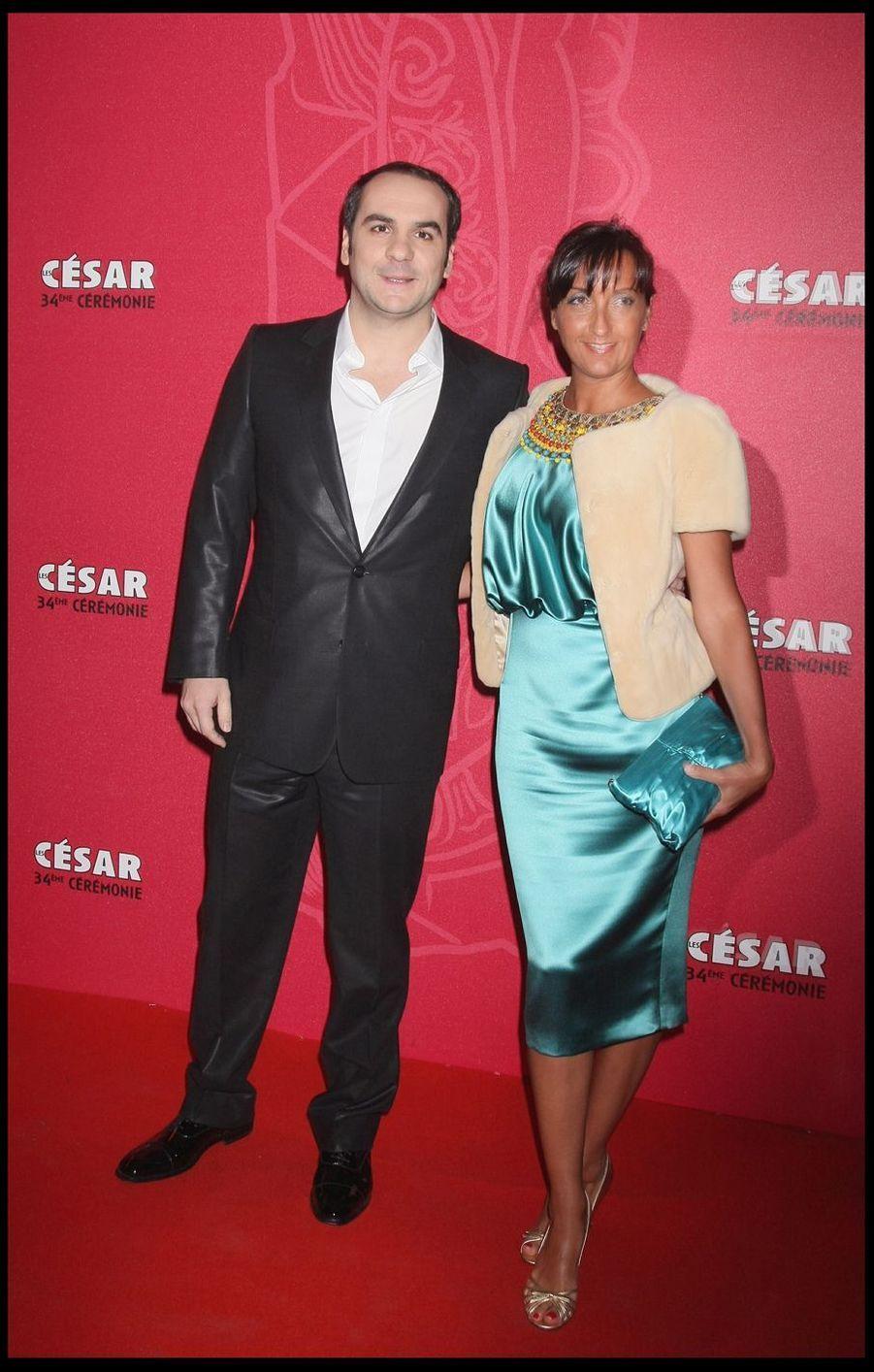 François-Xavier Demaison et sa femmelors de la 34e cérémonie des César à Paris, le 27 février 2009