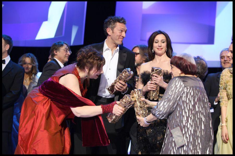 Les lauréats de la 34e cérémonie des César à Paris, le 27 février 2009