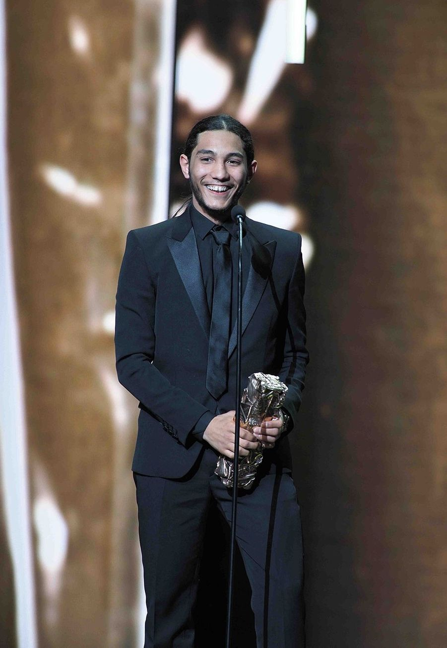 """Dylan Robert (meilleur espoir masculin pour """"Shéhérazade"""")lors de la cérémonie des César à la Salle Pleyel à Paris le 22 février 2019"""