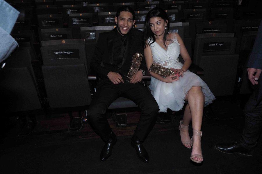 Dylan Robert et Kenza Fortaslors de la cérémonie des César à la Salle Pleyel à Paris le 22 février 2019