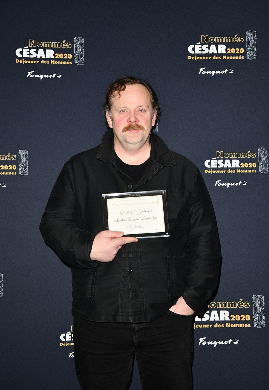 Grégory Gadebois (meilleur acteur dans un second rôle dans «J'Accuse»)au déjeuner des nommés des César au Fouquet's à Paris le 9 février 2020