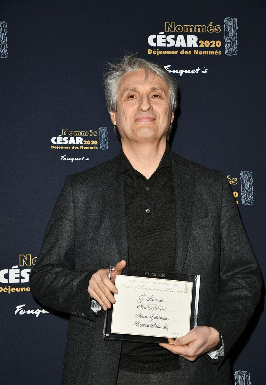 Le producteurAlain Goldman («J'accuse»)au déjeuner des nommés des César au Fouquet's à Paris le 9 février 2020