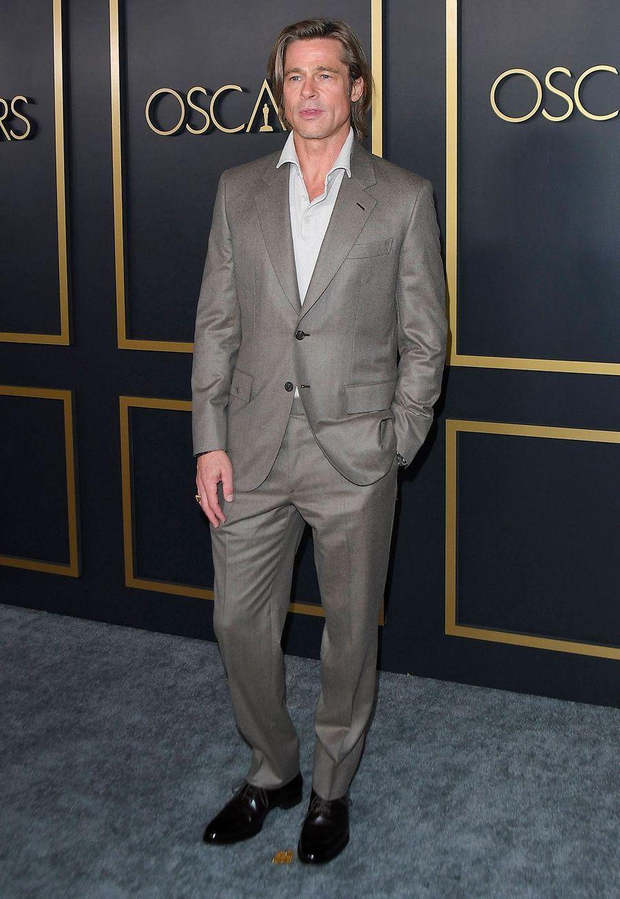 Brad Pittau déjeuner des nommés aux Oscars 2020 à Los Angeles, le lundi 27 janvier.