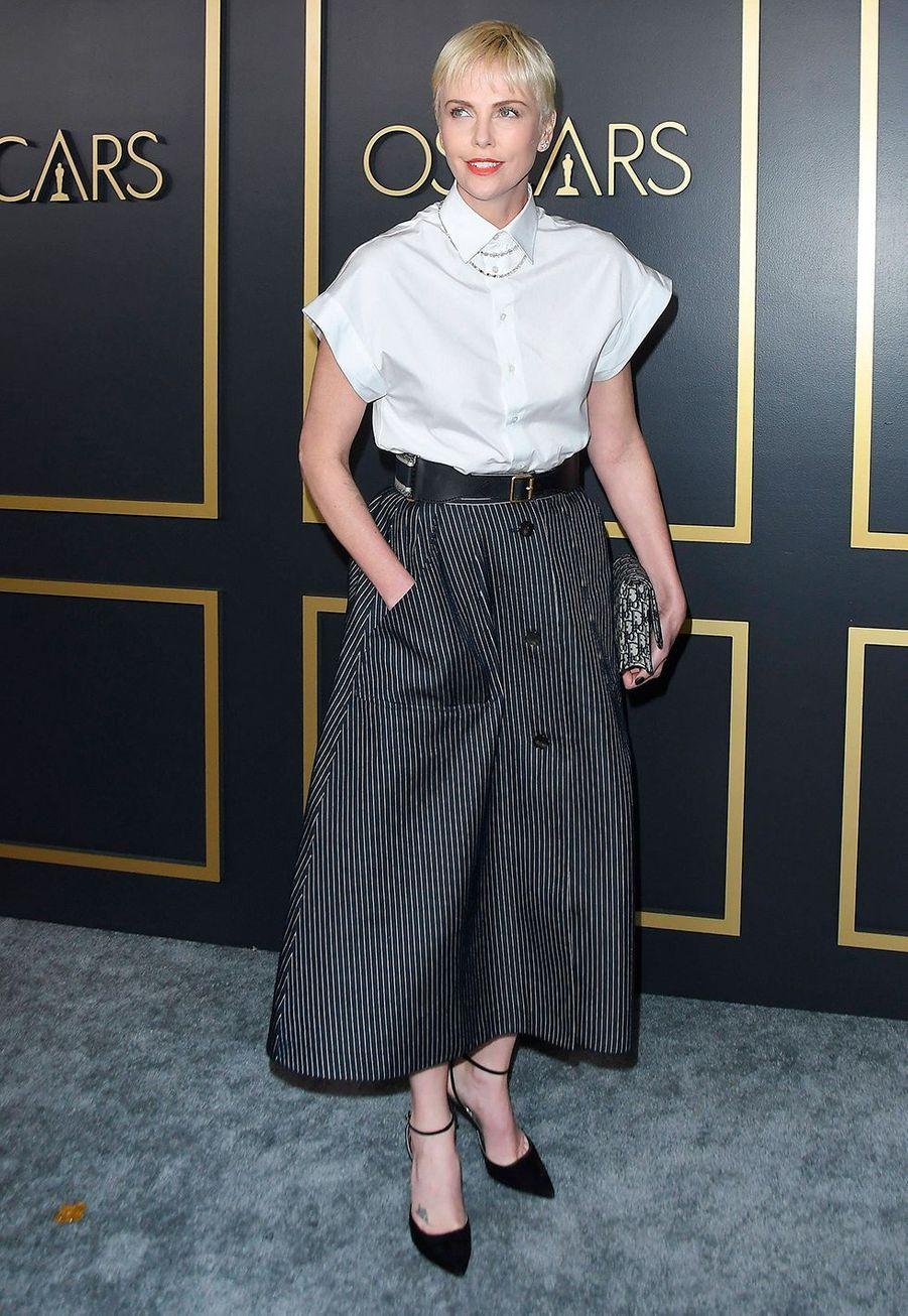 Charlize Theron au déjeuner des nommés aux Oscars 2020 à Los Angeles, le lundi 27 janvier.