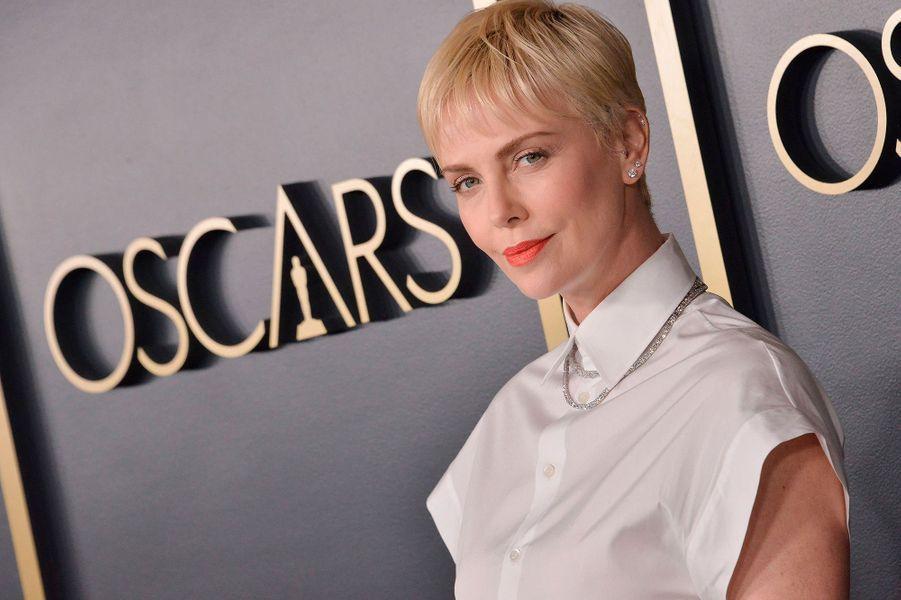Charlize Theronau déjeuner des nommés aux Oscars 2020 à Los Angeles, le lundi 27 janvier.