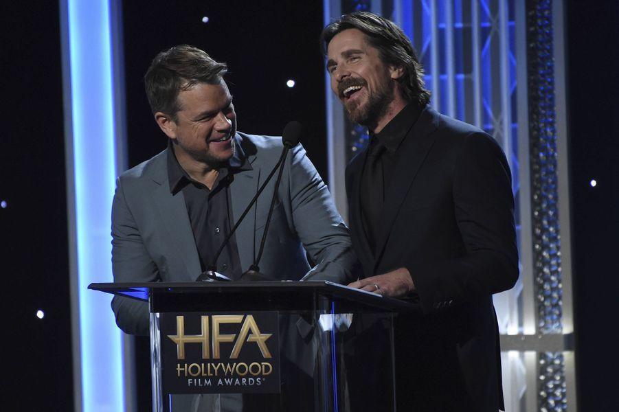Matt Damon et Christian Balelors des 23èmeHollywood Film Awards à Beverly Hills, le dimanche 3 novembre 2019.
