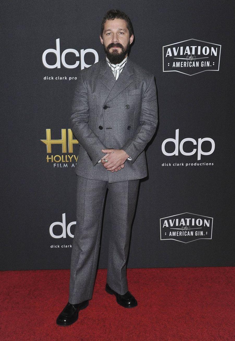 Shia LaBeouflors des 23èmeHollywood Film Awards à Beverly Hills, le dimanche 3 novembre 2019.