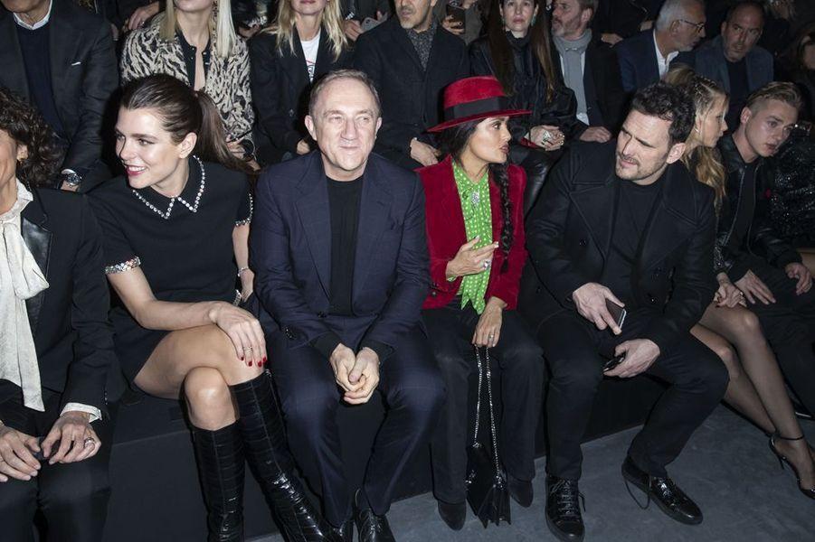 Charlotte Casiraghi, François-Henri Pinault, Salma Hayek et Matt Dillonau défilé Saint Laurent lors de la Fashion Week de Paris le 26 février 2019
