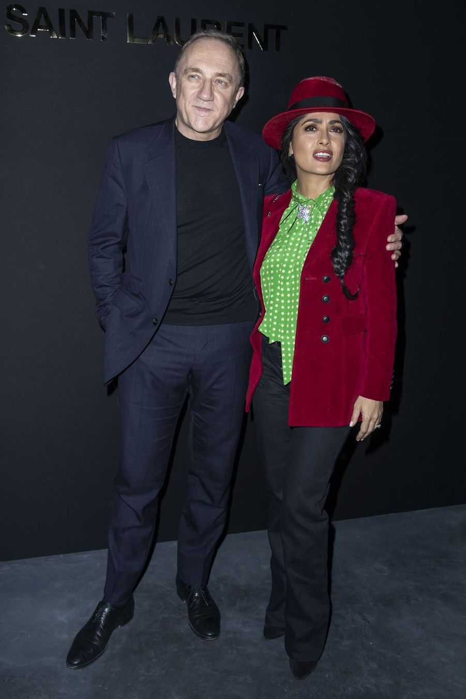 François-Henri Pinault et Salma Hayek au défilé Saint Laurent lors de la Fashion Week de Paris le 26 février 2019
