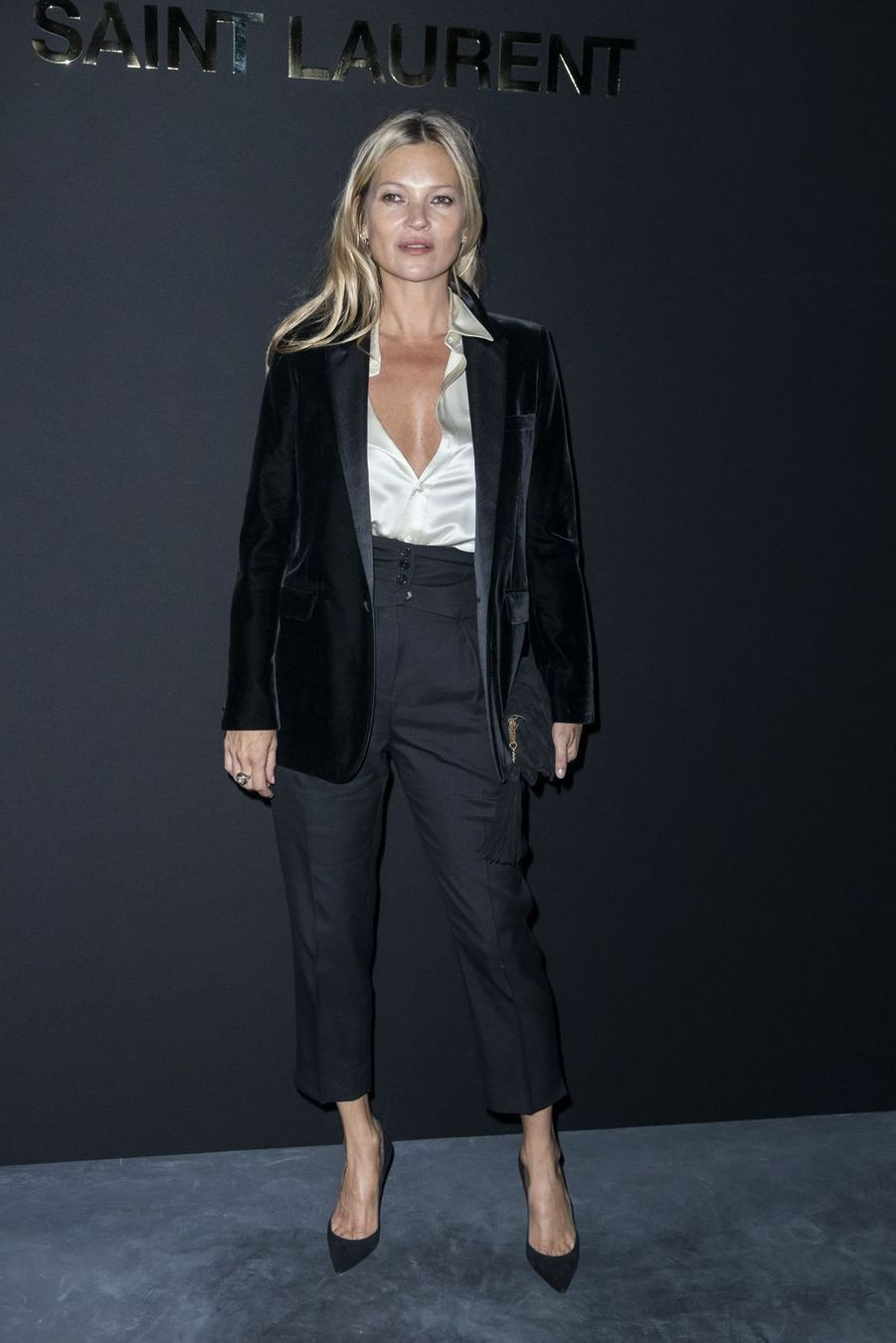 Kate Moss au défilé Saint Laurent lors de la Fashion Week de Paris le 26 février 2019