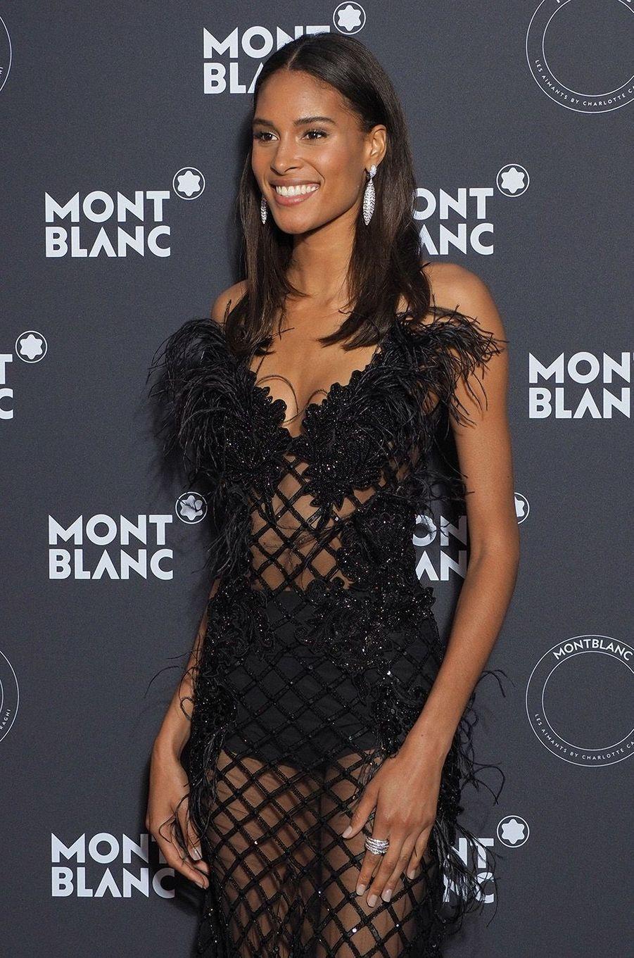 Cindy Bruna à la soirée Montblanc à Cannes, le 16 mai 2018.