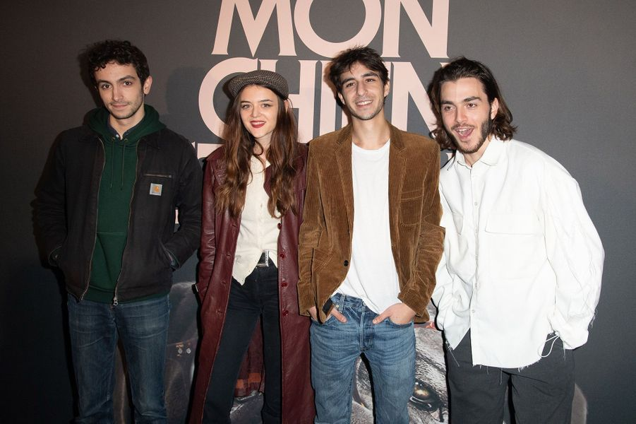 Pablo Venzal, Adèle Wismes, Ben Attal etPanayotis Pascotà la première de «Mon chien stupide» à Paris le 22 octobre 2019