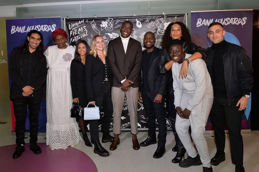 Chloé Jouannet, Jammeh Diangana, Kery James, Leïla Sy, Bakary Diombera et Dali Benssalah lors de la promotion de«Banlieusards» à Paris le 13 octobre 2019.
