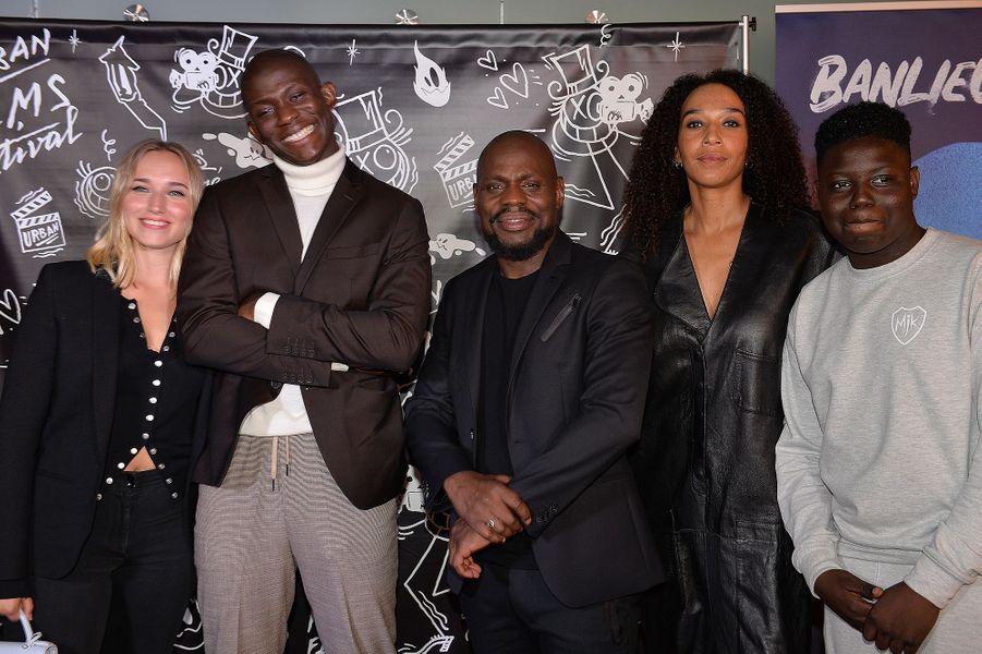 Chloé Jouannet, Jammeh Diangana, Kery James, Leïla Sy, Bakary Diomberalors de la promotion de«Banlieusards» à Paris le 13 octobre 2019.